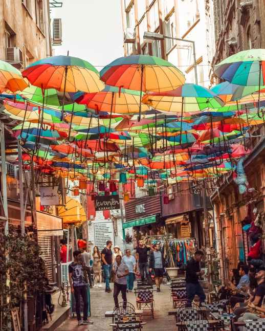 photo of colorful umbrellas